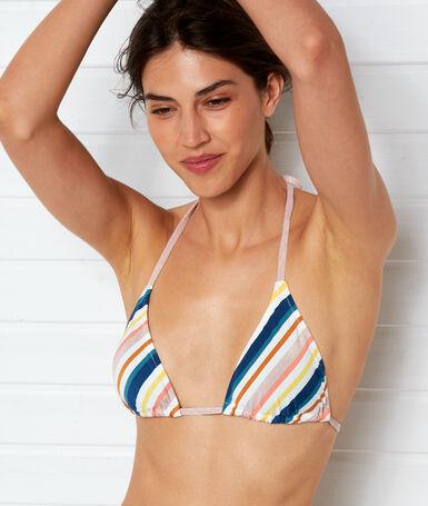 Haut de maillot de bain triangle imprime fond ecru.