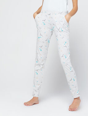 Pantalon imprimé sirène ecru.