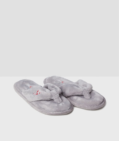 Chaussons tongs  velours gris.