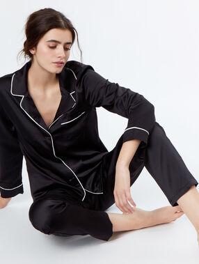 Pantalon satin poches contrastées black.