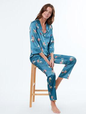 Pantalon satin imprimé fleuri bleu.