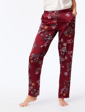 Pantalon satiné imprimé floral bordeaux grenat.