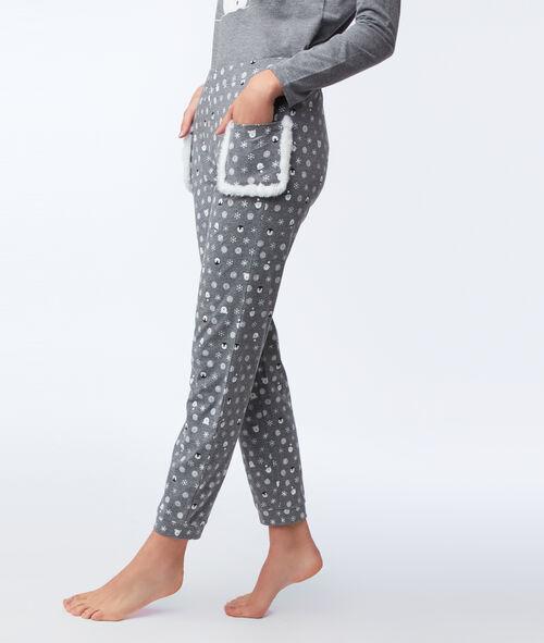 Pantalon imprimé avec poches fausse fourrure