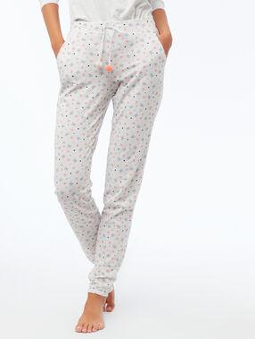 Pantalon imprimé gris clair.