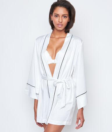 Déshabillé kimono satin contrasté blanc.