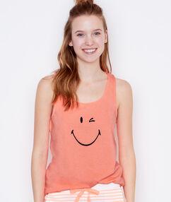 Top imprimé smiley orange.