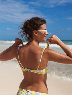 Haut de maillot de bain brassière, pads amovibles jaune acidule.