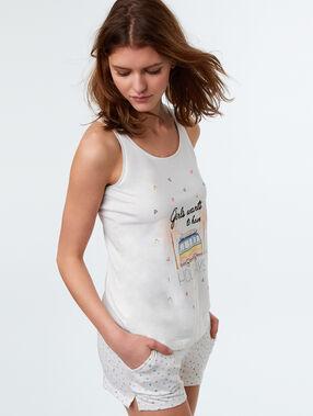 T-shirt imprimé à message blanc.