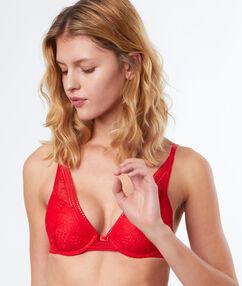 Soutien-gorge n°6 - triangle coque fine en dentelle rouge.
