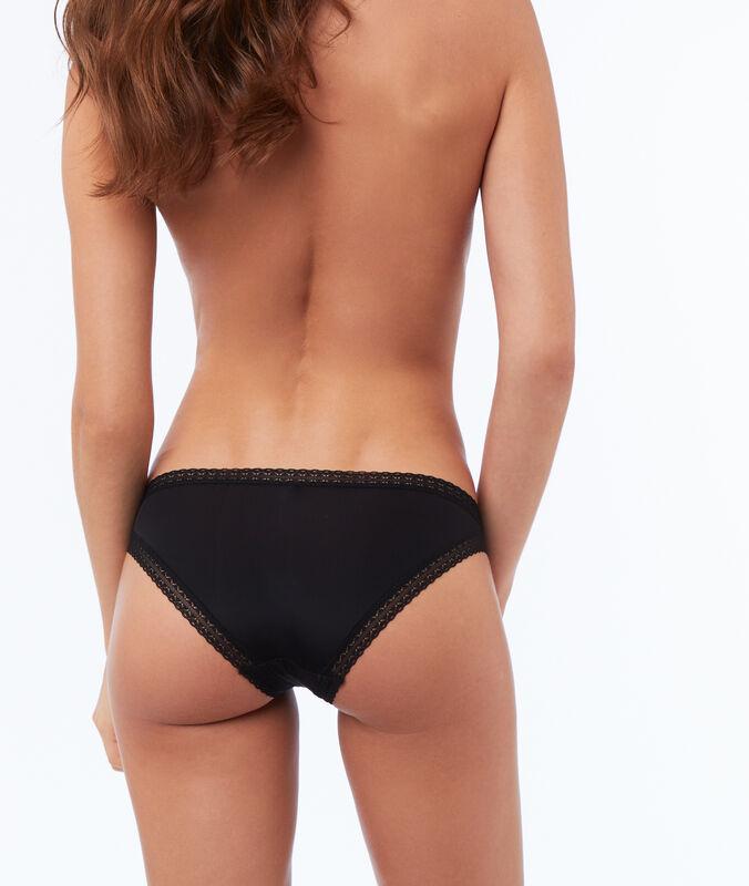 Culotte bi-matière noir.