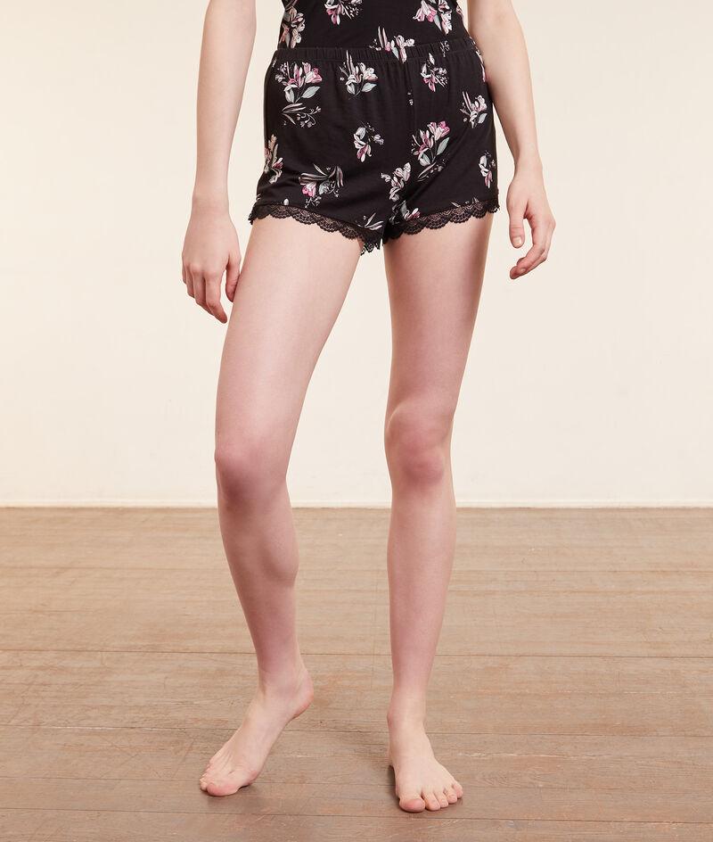 Short de pyjama imprimé bords dentelle;${refinementColor}