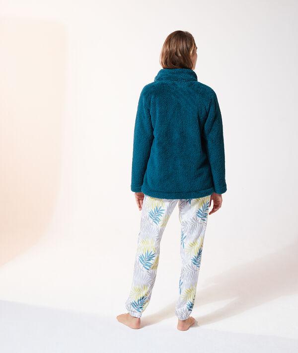 Pyjama 3 pièces imprimé fleuri, veste polaire;${refinementColor}