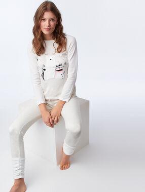 T-shirt avec détails en fausse fourrure beige.