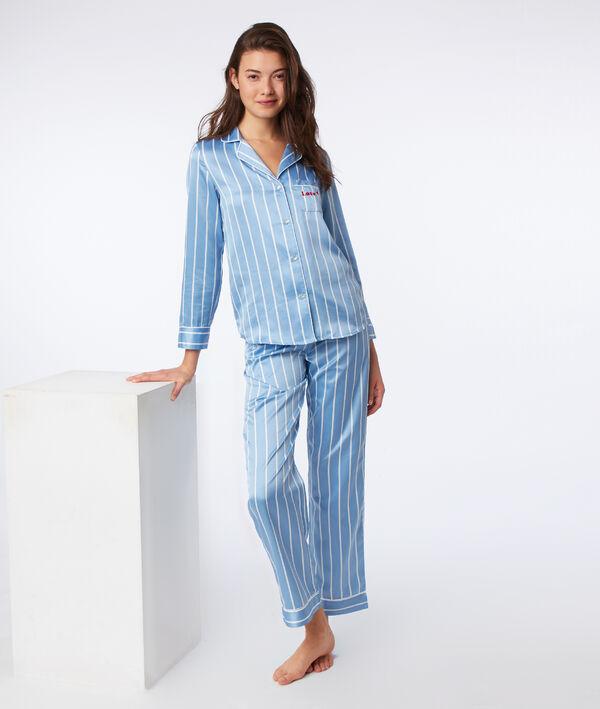 Chemise de pyjama satinée à rayures