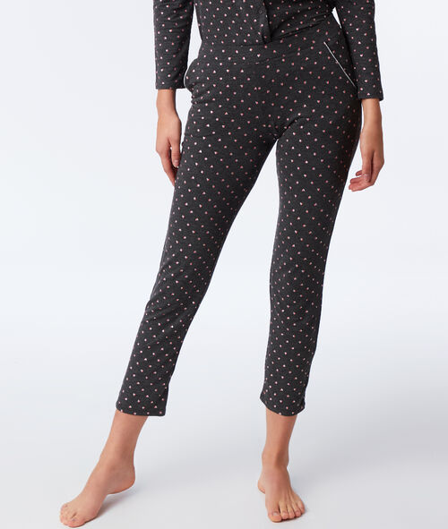 Pantalon motif cœurs et étoiles