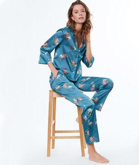 Chemise de pyjama d'homme imprimé fleuri bleu.