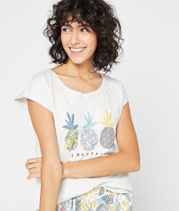 T-shirt imprimé ananas;${refinementColor}