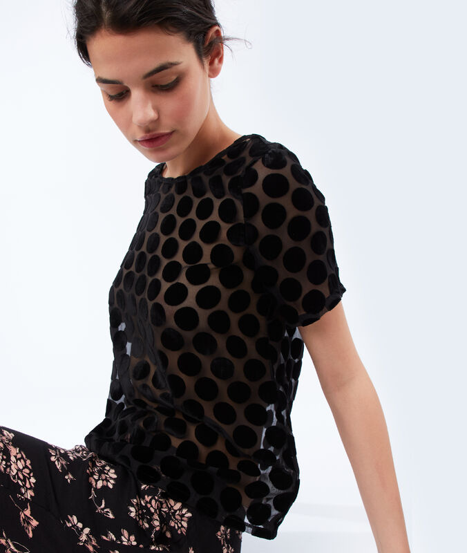 Top transparent pois velours noir.