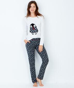 Pyjama 3 pièces, pantalon imprimé pingouin et veste toucher polaire bleu.