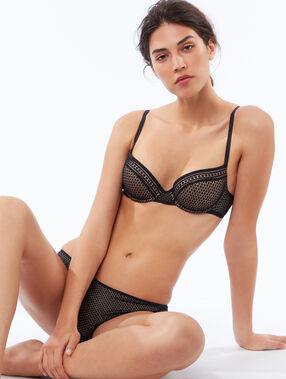 Culotte bi-matière contrastée noir/peau.