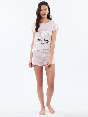 T-shirt imprimé licorne rose.