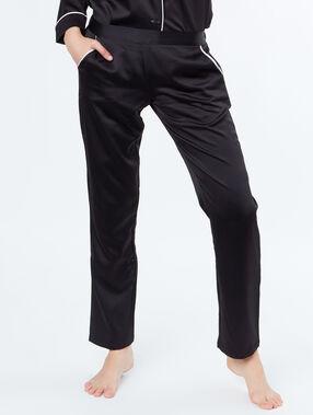 Pantalon satin poches contrastées noir.