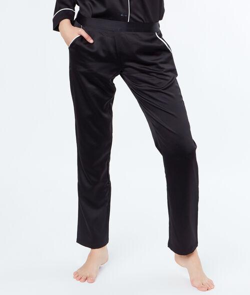 Pantalon satin poches contrastées