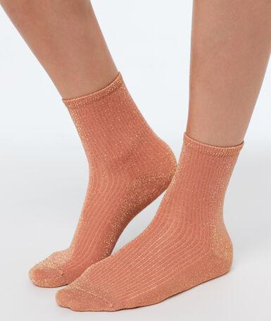 Chaussettes courtes métalisées corail.
