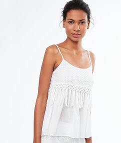 Top broderie anglaise et pompons blanc.