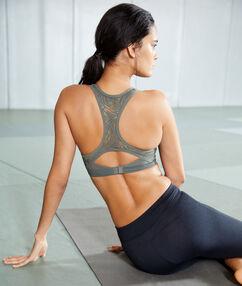 Brassière de sport, effet push-up & dos nageur - maintien médium kaki.
