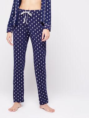 Pantalon noué à motifs ananas bleu nuit.