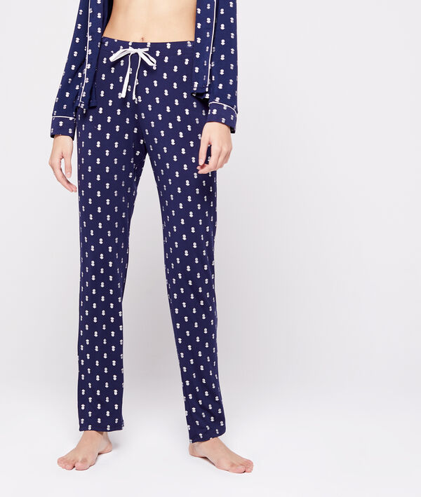 Pantalon noué à motifs ananas