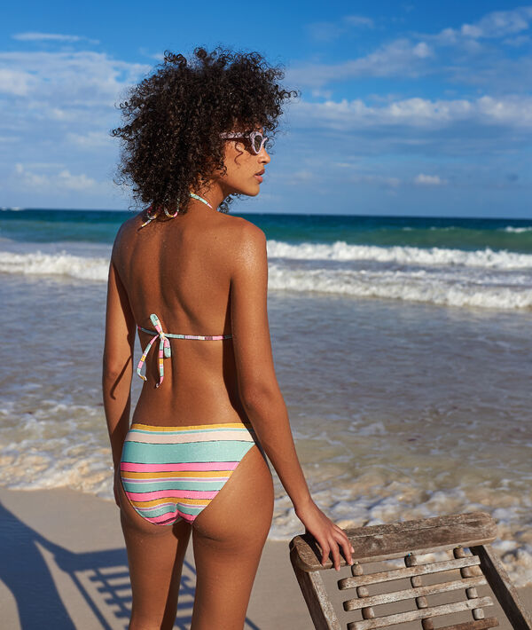 Bas de bikini simple, rayé