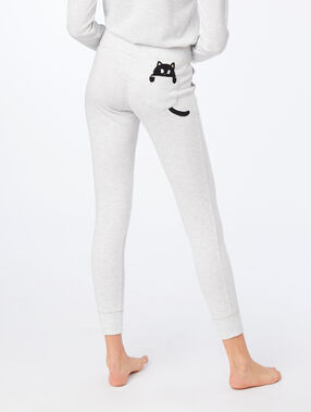 Pantalon avec poche imprimé chat gris.