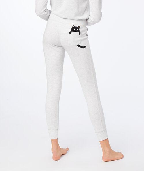 Pantalon avec poche imprimé chat