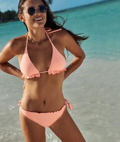 Bas de bikini à nouer corail.