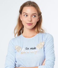 T-shirt imprimé licorne ailes 3d bleu.