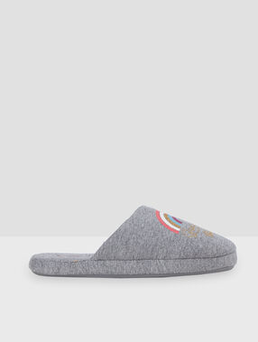 """Mules """"good vibes only"""" gris."""