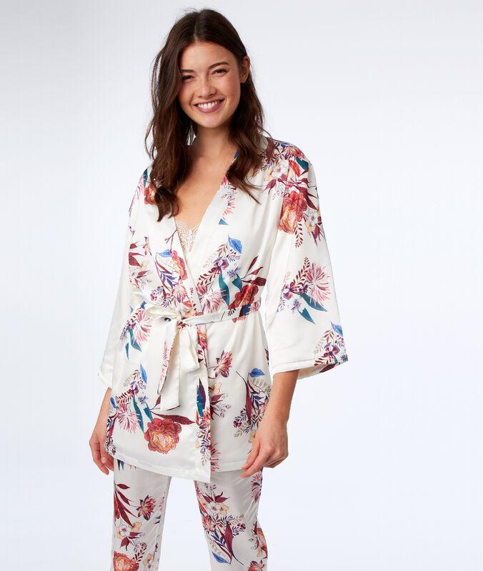 Kimono déshabillé imprimé floral ecru.