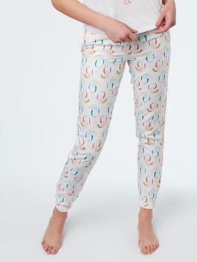 Pantaon imprimé toucan blanc.