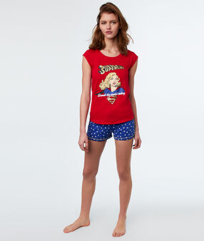 T-shirt imprimé supergirl rouge.