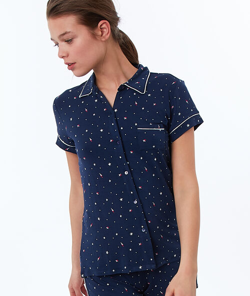 Chemise de pyjama à liseré métallisé