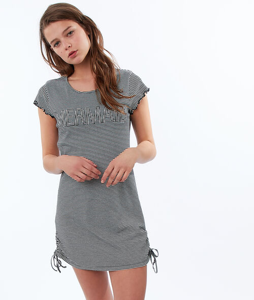 T-shirt rayé à message en coton