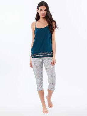 Pantalon imprimé ethnique ecru.