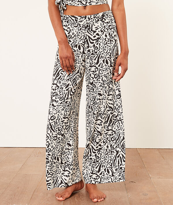 Pantalon taille haute évasé imprimé;${refinementColor}