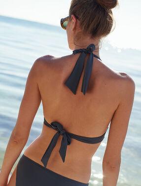 Haut de maillot de bain triangle, détails œillets gris.