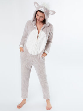 Combinaison pyjama mouton beige.