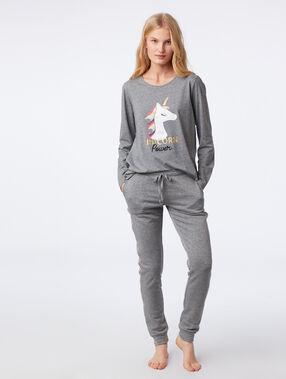 "T-shirt ""unicorn power"" anthracite."