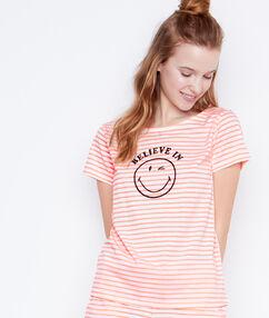 T-shirt message smiley orange.