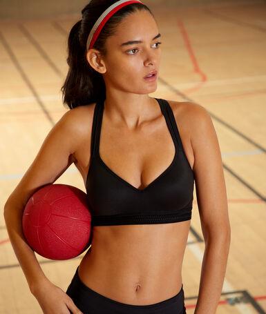 Brassière de sport, effet push-up & dos nageur - maintien médium noir.